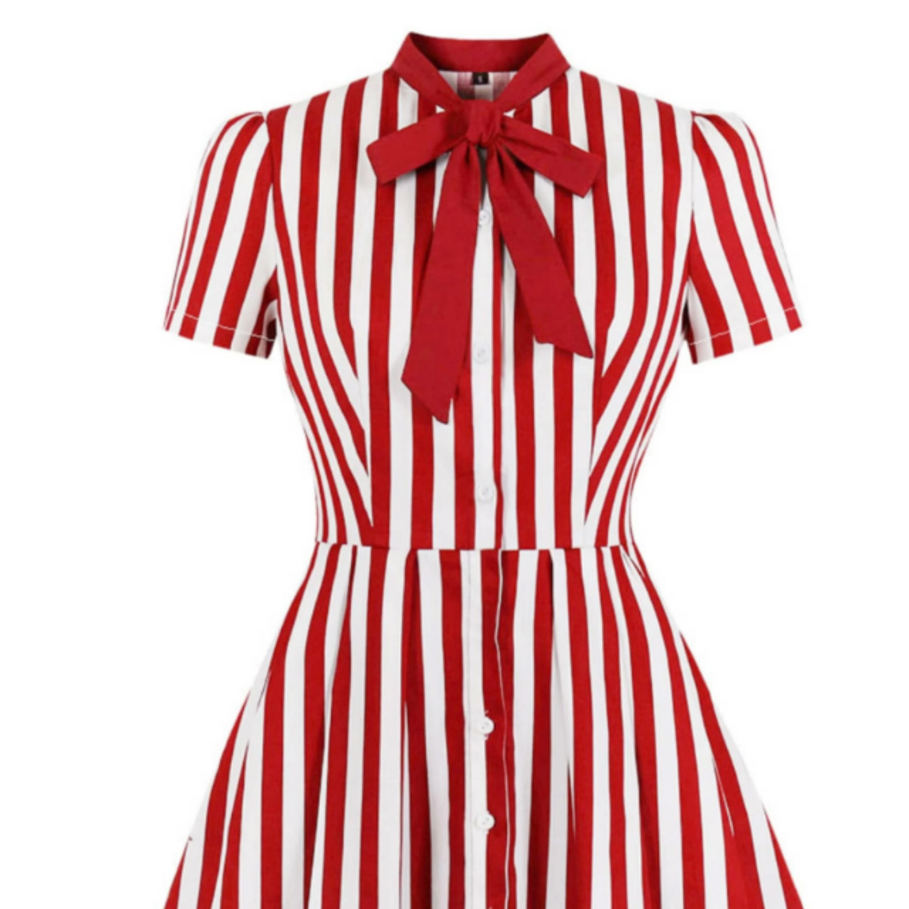 Plus tie neck stripe fit & flare dress 4xl