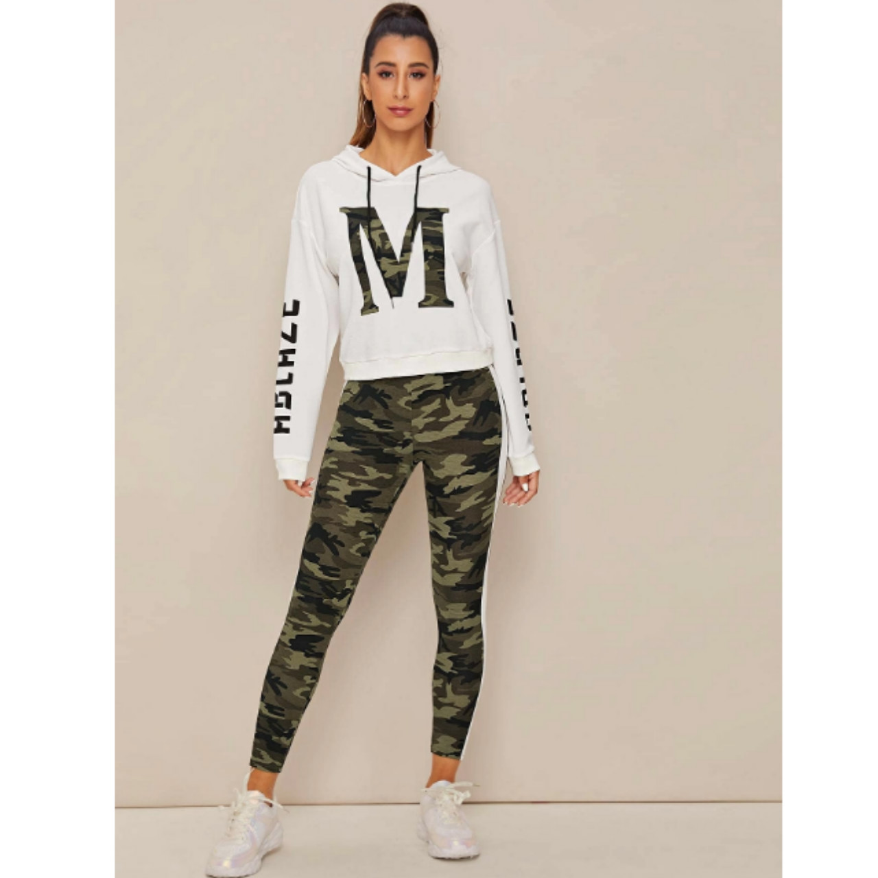 Letter and camo hoodie and leggings set xs