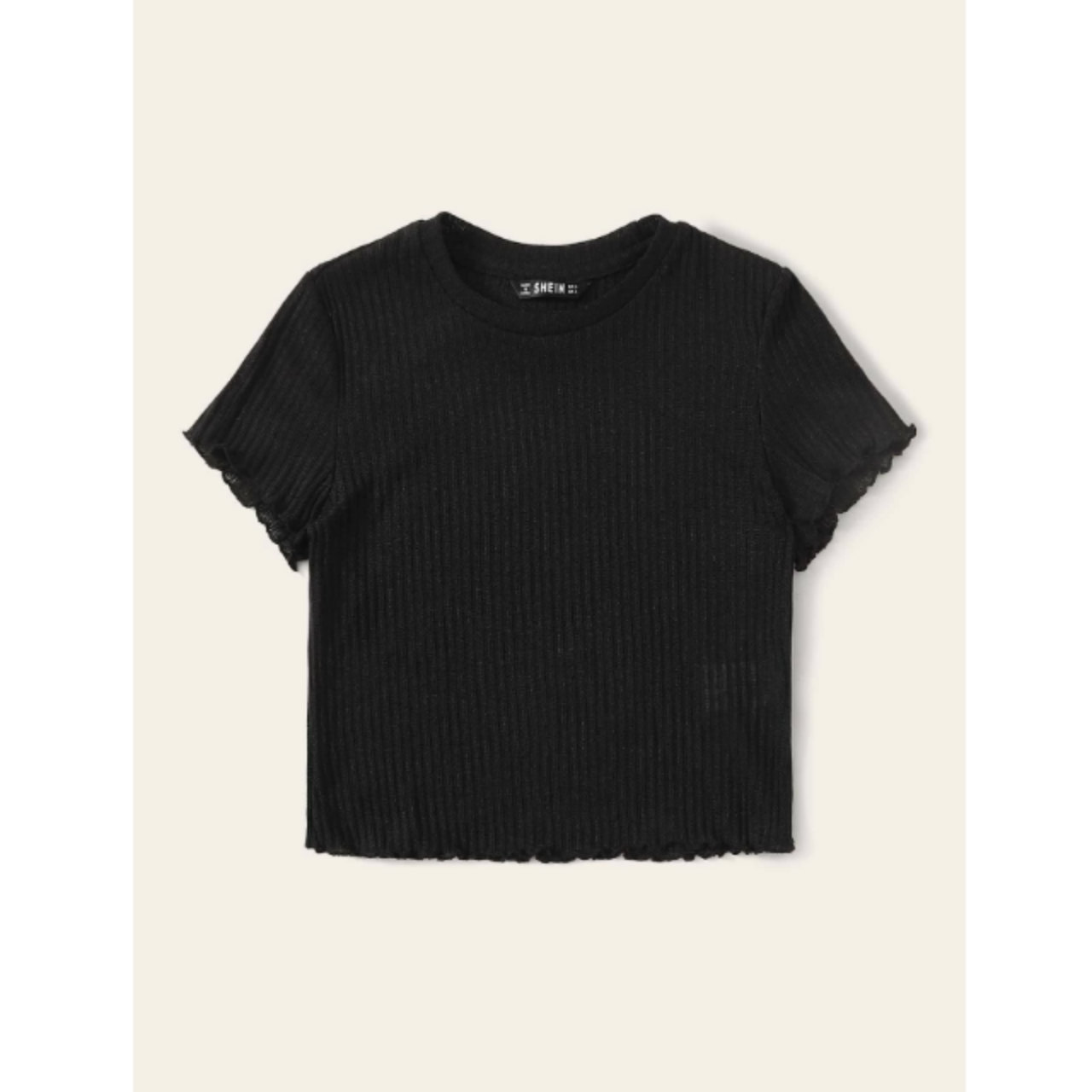 Ribbed lettuce-edge cropped tee s