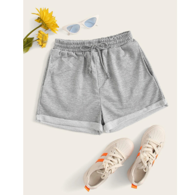 Rolled french terry drawstring shorts s