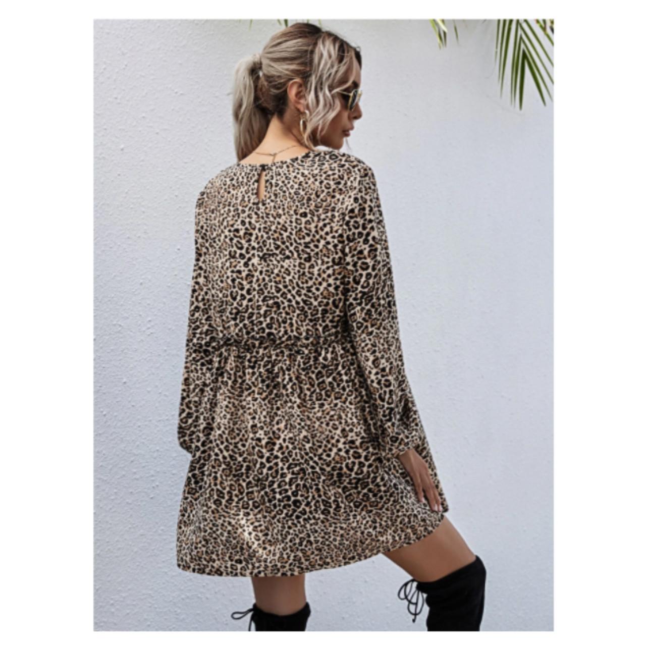 Leopard print frill trim smock dress s
