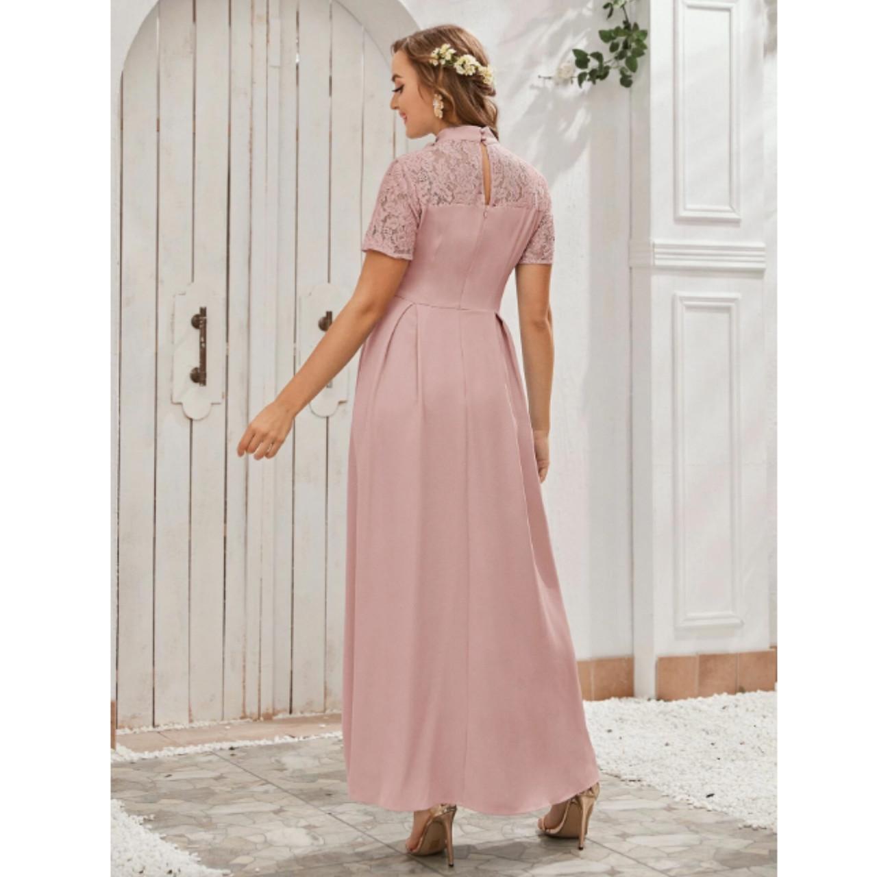 Tie neck lace yoke boxy pleated dress m