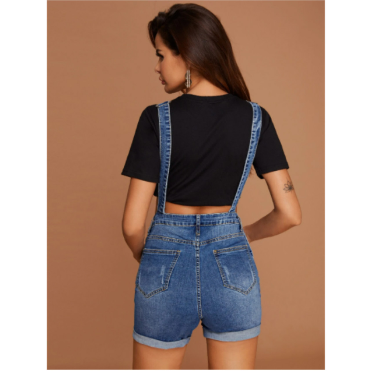 Pocket front ripped detail cuffed denim overall shorts s