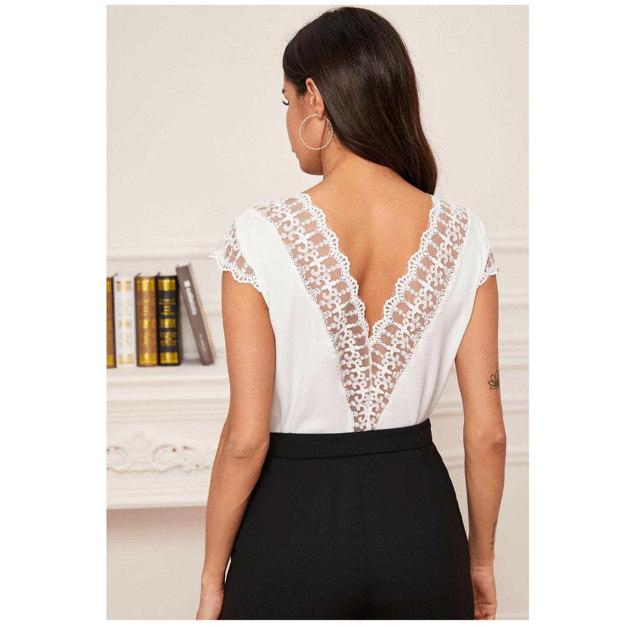 Embroidered mesh trim v-back top m